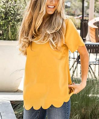 Tickled Teal Women's Blouses mustard - Mustard Scalloped-Hem Top - Women