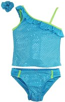 Number One Little Girls' Toddler Gold Polka Dots Two Piece Swim Rashguard Set