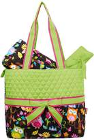NGIL Monogrammable Green Quilted Piece Diaper Bag with Ribbon Accents & Colorf...