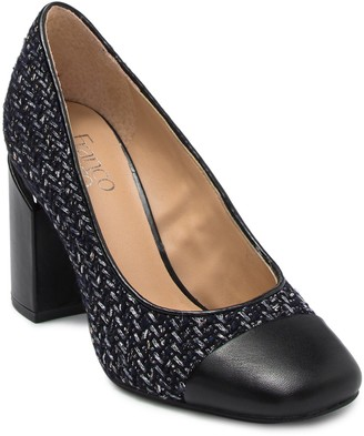 Franco Sarto Roller Knit Square Toe Leather Pump