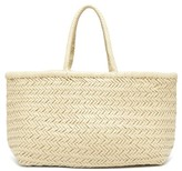 Dragon Optical Diffusion - Triple Jump Large Woven-leather Basket Bag - Womens - Cream