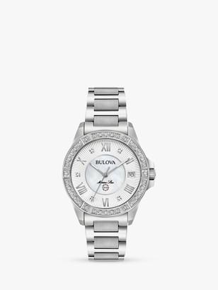 Bulova 96R232 Women's Marine Star Diamond Date Bracelet Strap Watch, Silver