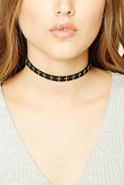 Forever 21 FOREVER 21+ Faux Suede Beaded Cross Choker