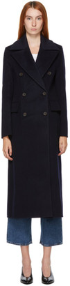 Nanushka Navy Wool Lana Coat