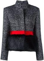 Capucci fur-embellished herringbone jacket