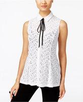 ECI Lace Tie-Neck Swing Blouse