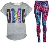 a2z4kids Kids Girls OMG Print T Shirt Top & Wet Look Leopard Legging Outfit Set 7-13 Yrs