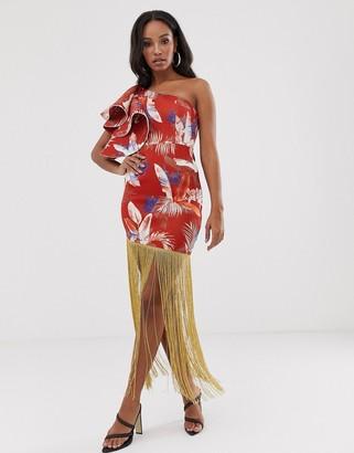 Asos DESIGN one shoulder quilted ruffle detail floral midi dress with gold fringe hem