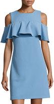 Taylor Cold-Shoulder Ruffled Dress, Light Blue