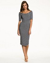 Le Château Striped Jersey Boat Neck Midi Dress