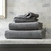 Crate & Barrel Fringe Grey Bath Towels