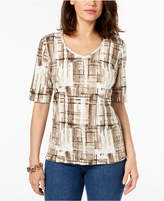 Karen Scott Printed V-Neck Top, Created for Macy's