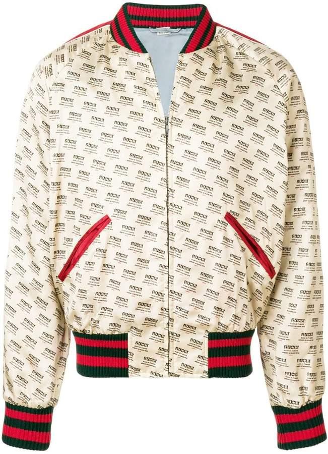 Gucci stamp bomber jacket