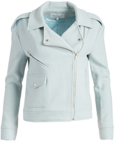 Lucy Paris Turquoise Wool-Blend Moto Jacket
