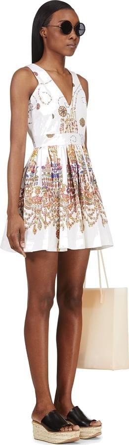 MSGM White Gem Print A-Line Dress
