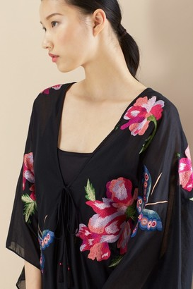 Natori Paradise Embroidery Butterfly Wrap