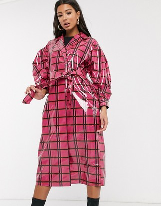 ASOS DESIGN vinyl check trench coat in pink