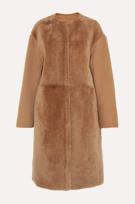 Yves Salomon Wool And Cashmere-blend And Shearling Coat - Camel