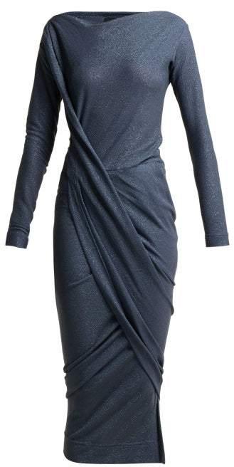 Vivienne Westwood Vian Draped Asymmetric Midi Dress - Womens - Blue
