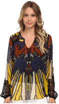 Hale Bob Oasis In The City Long Sleeve Blouse w/ Lace Detail