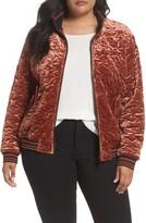 Bernardo Plus Size Women's Quilted Velvet Bomber Jacket