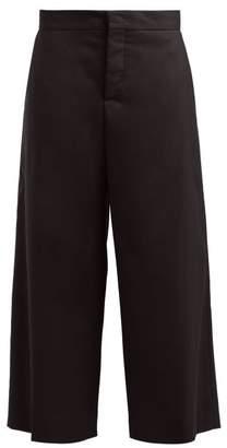 Marni Cropped Wide Leg Cotton Blend Twill Trousers - Womens - Black