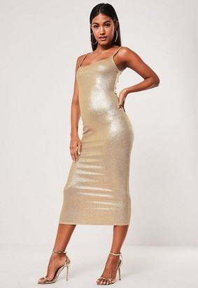 Missguided Gold Metallic Strappy Cami Midi Dress