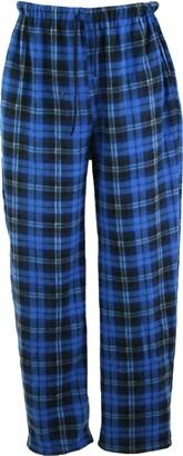 I Smalls Mens Classic Checked Polar Fleece Pyjama Trouser Sleepwear Nightwear Loungewear (Blue) XL