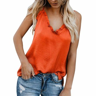 DEELIN Women's Tank Tops Solid Chiffon Sexy Spaghetti Straps Ruffles V Neck Sleeveless Vest Tops Blouse Summer T-Shirt Loose Sexy Cami Tops for Women(Black L)