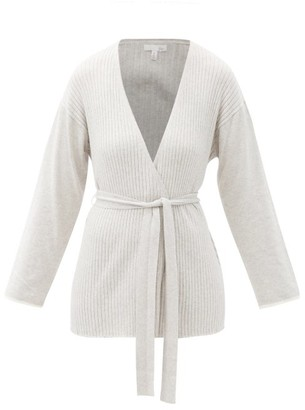 Skin Marissa Belted Cotton-blend Cardigan - Light Grey