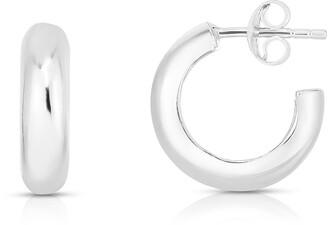 Sphera Milano Rhodium Plated Sterling Silver Hoop Earrings