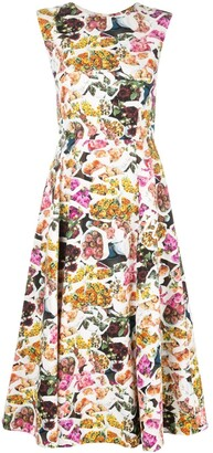 Adam Lippes Floral Print Fluted Dress