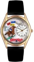 Whimsical Watches Kids' C0810007 Classic Gold Horse Racing Black Leather And Goldtone Watch
