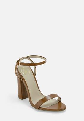 Missguided Tan Block Heeled Sandals