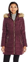 Laundry by Shelli Segal Women's Down-3/4 Windbreaker Down with Cinched Waist