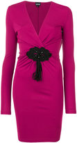 Just Cavalli gathered front V-neck dress