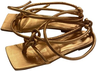 Bottega Veneta Stretch Gold Leather Sandals