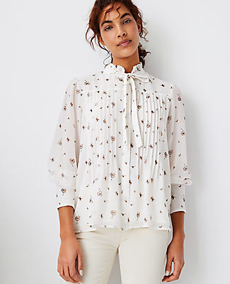 Ann Taylor Petite Floral Pintucked Tie Neck Blouse