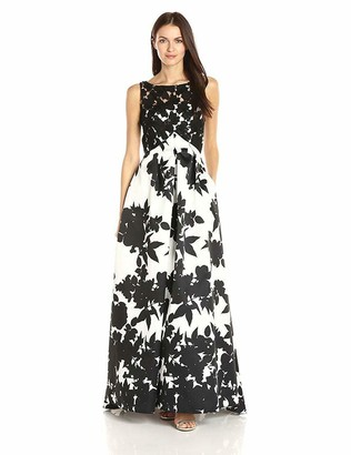 Carmen Marc Valvo Women's Printed Mikado Strapless Ballgown W/Lace Bodice Overlay