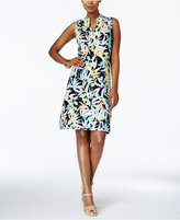 Charter Club Printed Split-Neck Shift Dress, Created for Macy's