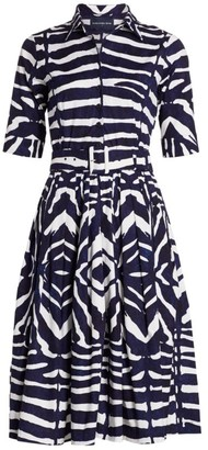 Samantha Sung Florance Zebra-Stripe Stretch-Cotton Midi Dress