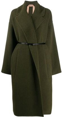 No.21 Wide-Lapel Belted Coat