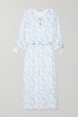 Heidi Klein Shirred Zebra-print Voile Maxi Dress - White