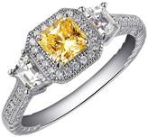 Lafonn Platinum Plated Sterling Silver Micro Pave Canary & Simulated Diamond Princess Three Stone Ring