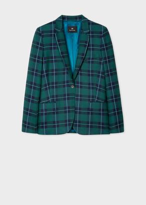 Paul Smith Women's Green And Navy Tartan Wool-Blend Blazer