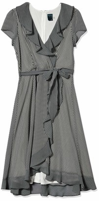 Gabby Skye Women's Short Sleeve Stripe Ruffled Dress
