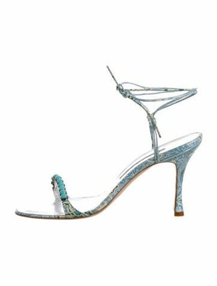 Manolo Blahnik Leather Strappy Sandals Blue