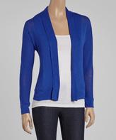 Boing Blue Three-Quarter Sleeve Open Cardigan