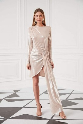 Jenerique Long Sleeves One Side Draped Occasion Dress