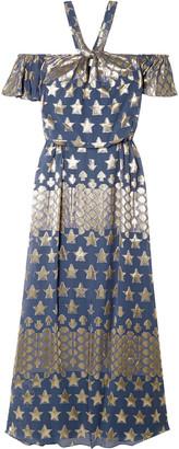 Temperley London Hetty Metallic Fil Coupe Silk-blend Chiffon Halterneck Gown